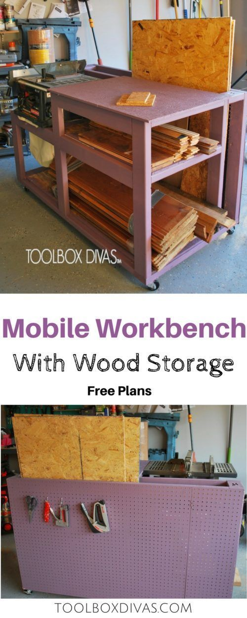 Free build plans. Table Saw Workbench with Wood Storage and additional pegboard ...