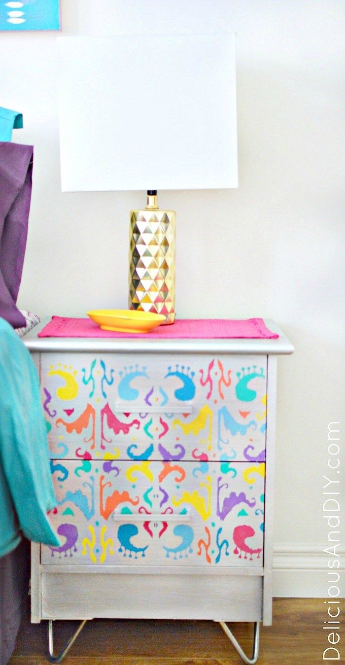 Give your Old Nightstands a stunning makeover using an Ikat Stencil and Hairpin ...