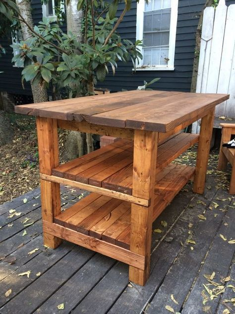 How to Build a Rustic Kitchen Island - tutorial and materials list shows how to ...