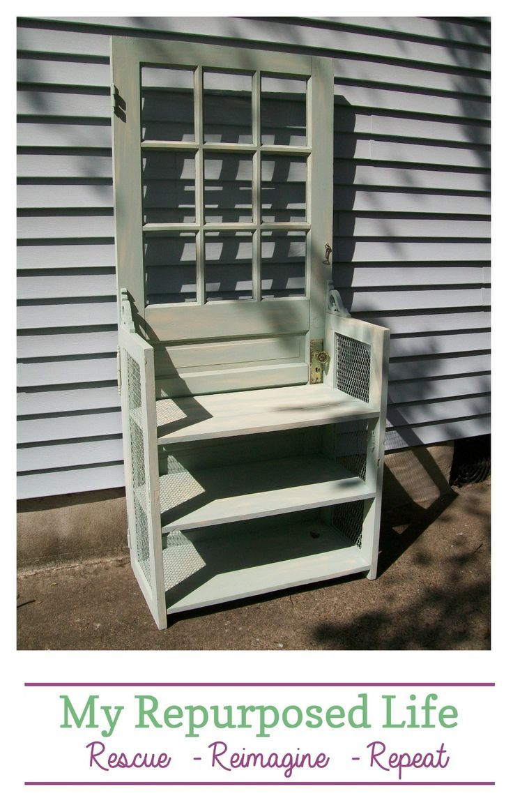 How to make a bookshelf out of an old door. #repurposed #furniture #door #booksh...