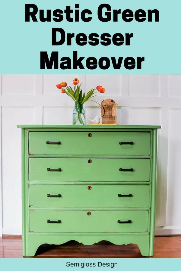 How to update a dresser with Rustic Green paint by Country Chic paint. This colo...