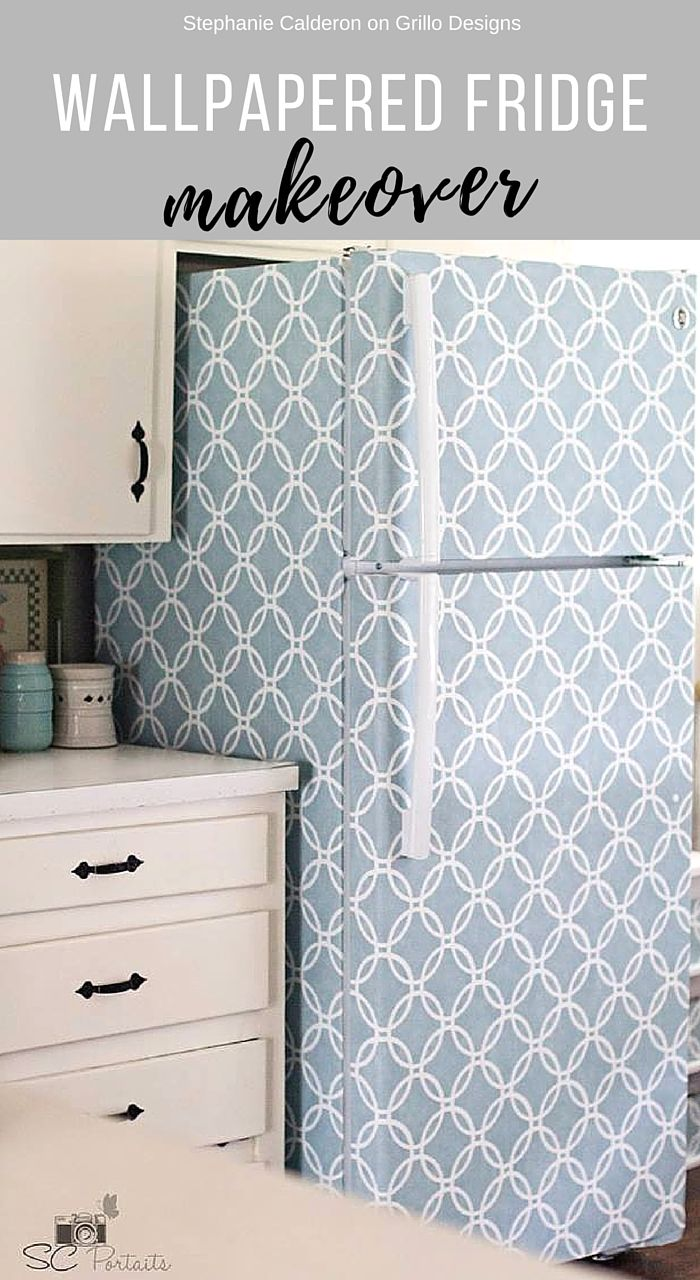 Diy Furniture How To Wallpaper A Fridge Grillodesigns