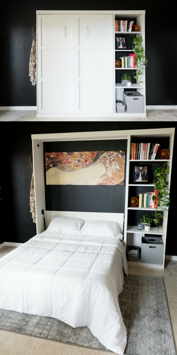 Modern-style DIY murphy bed // Sherwin-Williams Basalt Powder // Sherwin-William...