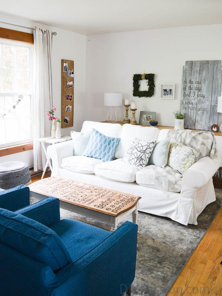 New Living Room with White Slipcovered Couch