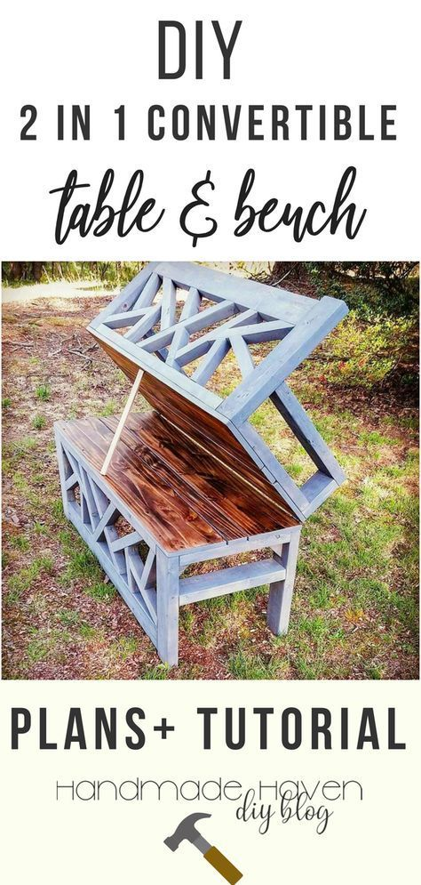 OUTDOOR CONVERTIBLE COFFEE TABLE AND BENCH - Shawn made his outdoor convertible ...