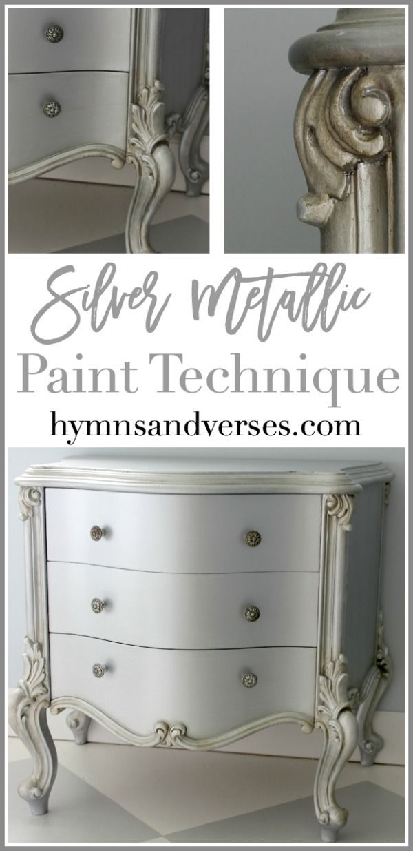 See how I achieved this perfect silver metallic paint finish on a French nightst...