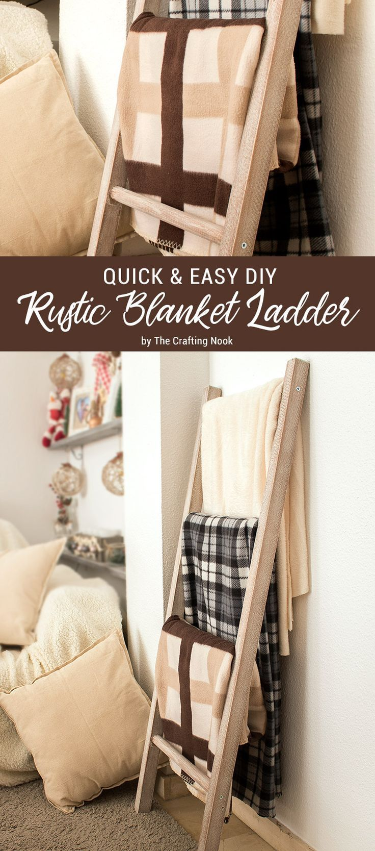 This Quick & Easy DIY Rustic Blanket Ladder is perfect for people like me that h...