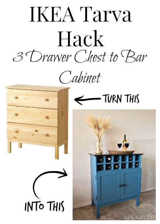 Transform an IKEA Tarva dresser into a gorgeous bar cabinet!  I love the wine cu...