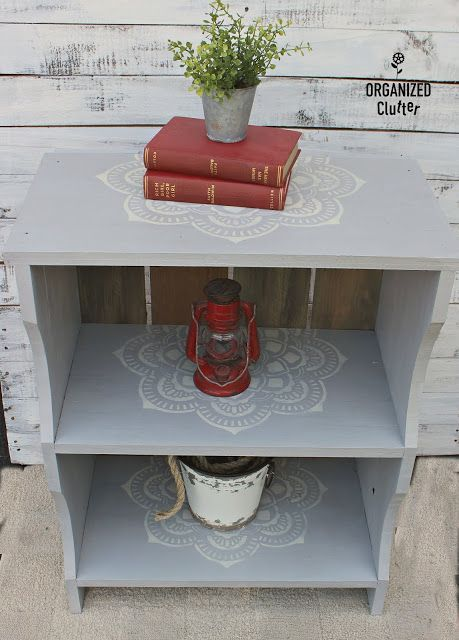Up-cycled Open Book Shelf with Stencils