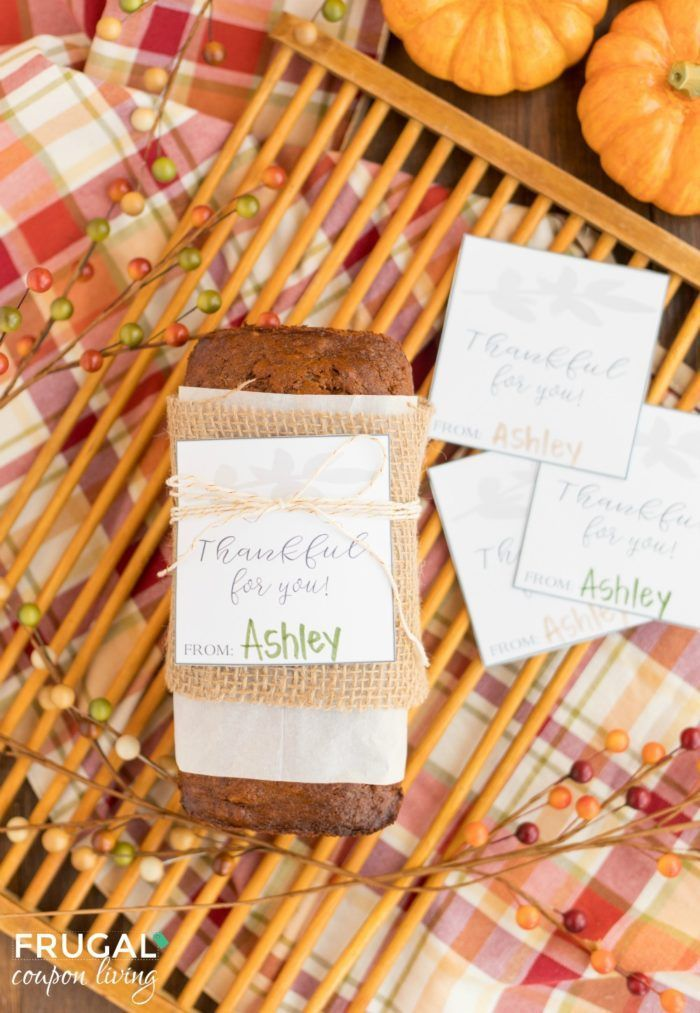 Download your free printable thankful for you gift tag. Thanksgiving gift idea f...