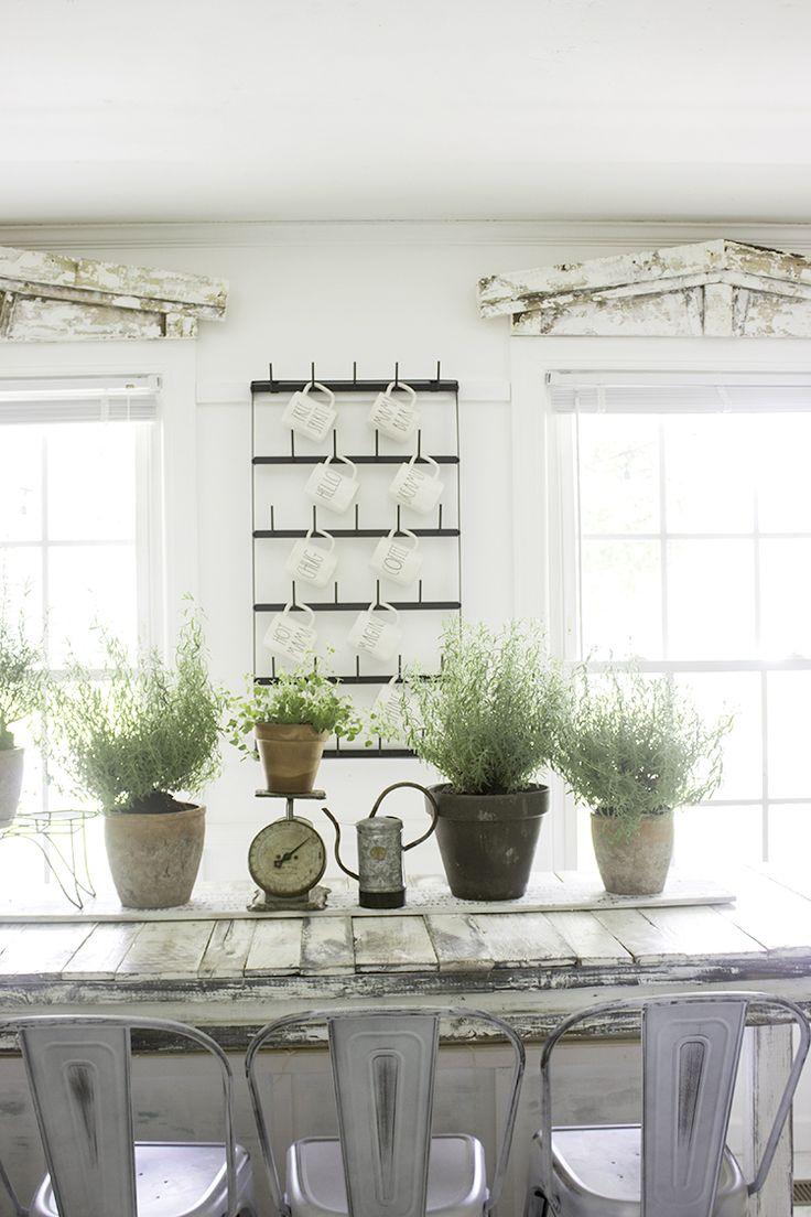 Farmhouse Summer Indoor Greenhouse Inspired Garden Dinning Room Decor- Potted Pl...