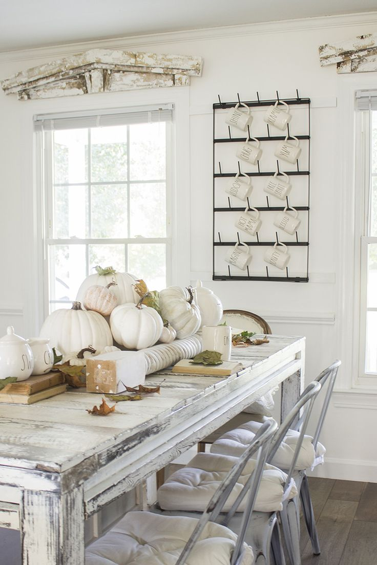 Fall Farmhouse - Neutral Fall DIY - White Pumpkin Decor - Thanksgiving Tablescap...