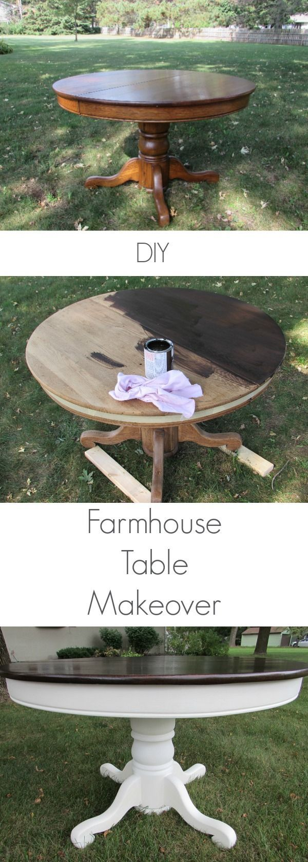 I love this DIY Farmhouse Table Makeover! Step by step instructions on how to ma...