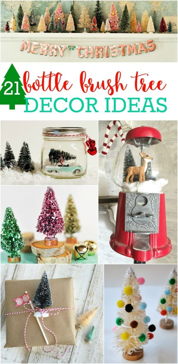21 bottle brush tree ideas! SO CUTE!! Lots of fun and easy ways to incorporate a...