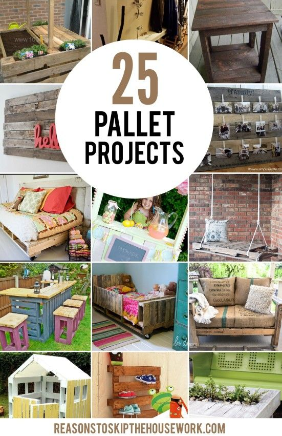 25 Pallet Projects to spruce up your home.  What a great way to add unique decor...