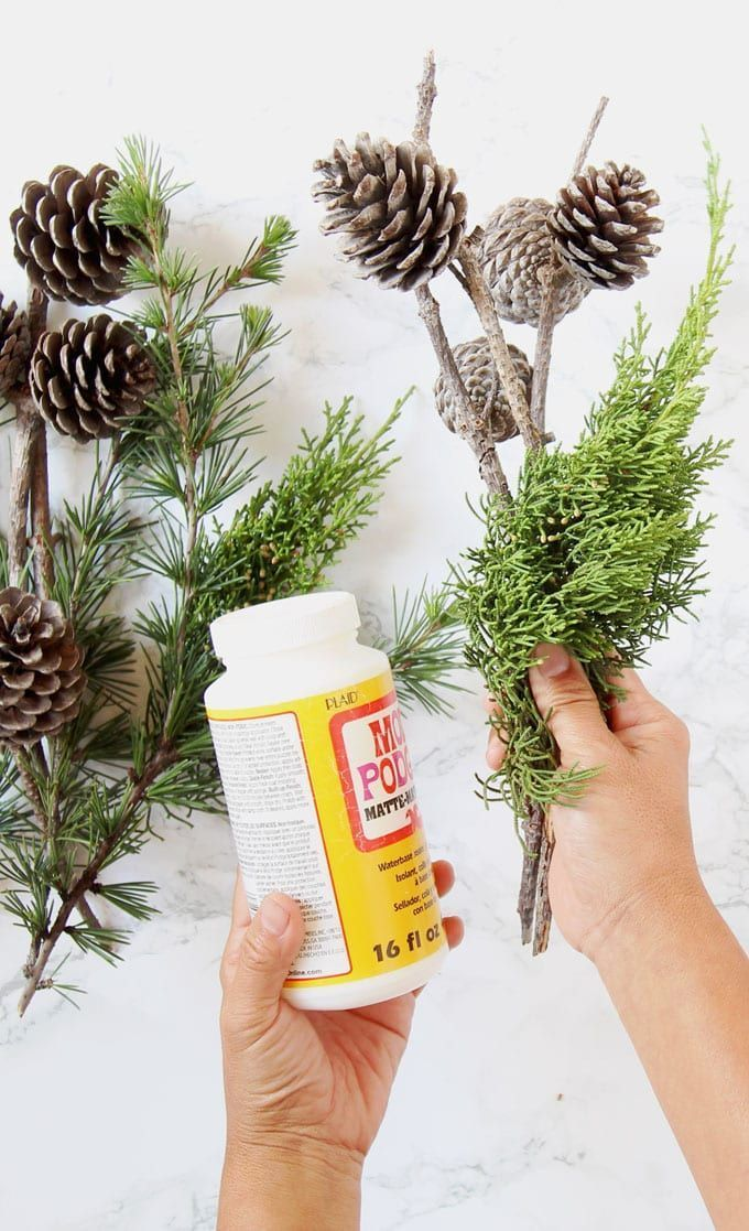 3 minute gorgeous DIY snow covered pine cones & branches in 3 ways! Easy pinecon...