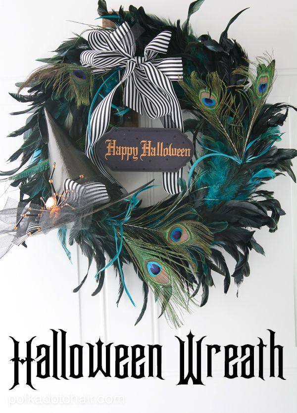 A halloween Wreath tutorial on the polka dot chair craft blog, make a cute wreat...