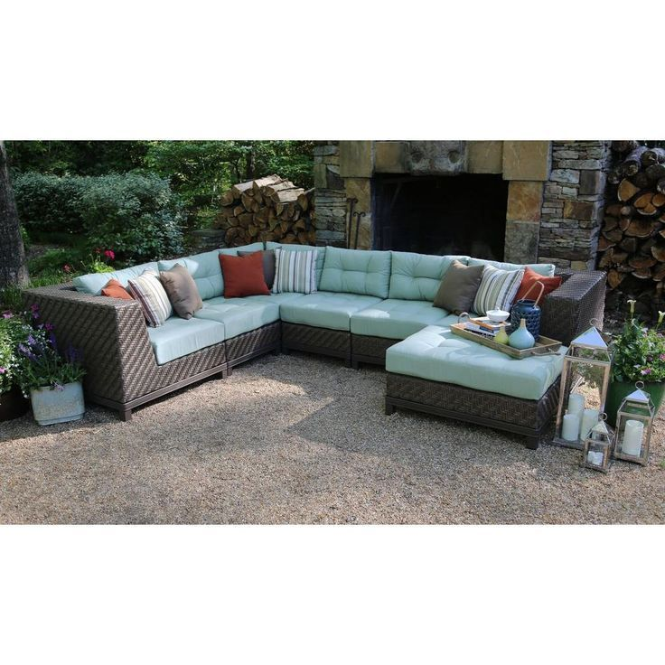 AE Outdoor Dawson 7-Piece Patio Sectional Seating Set with Sunbrella Fabric with...