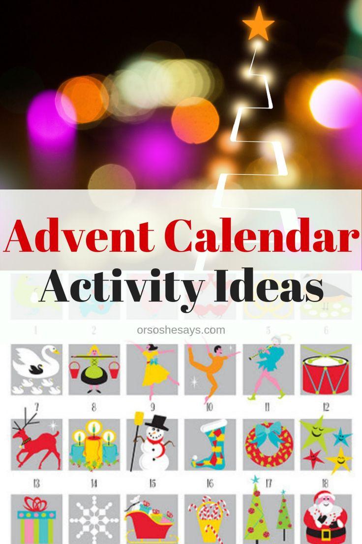 Advent Calendar activity ideas - books and more! www.orsoshesays.com #advent #ad...
