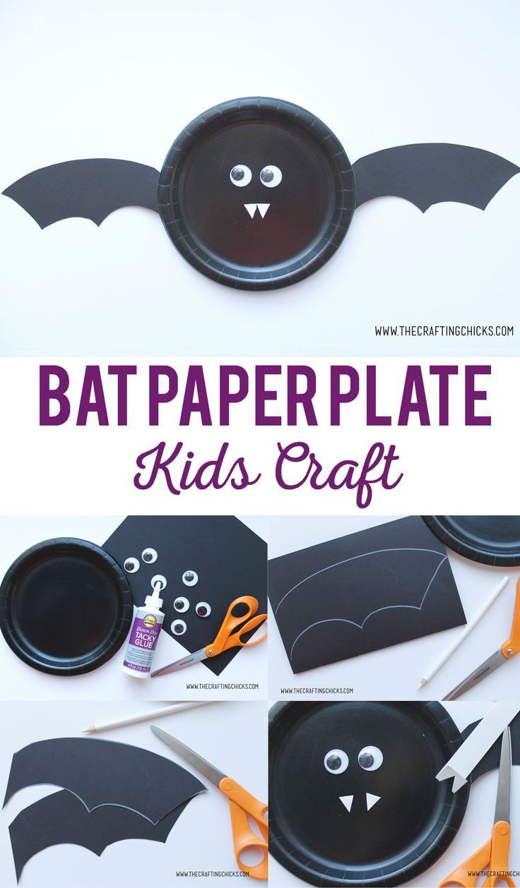 Bat Paper Plate Kids Craft is great for Halloween Class parties, or anytime you ...