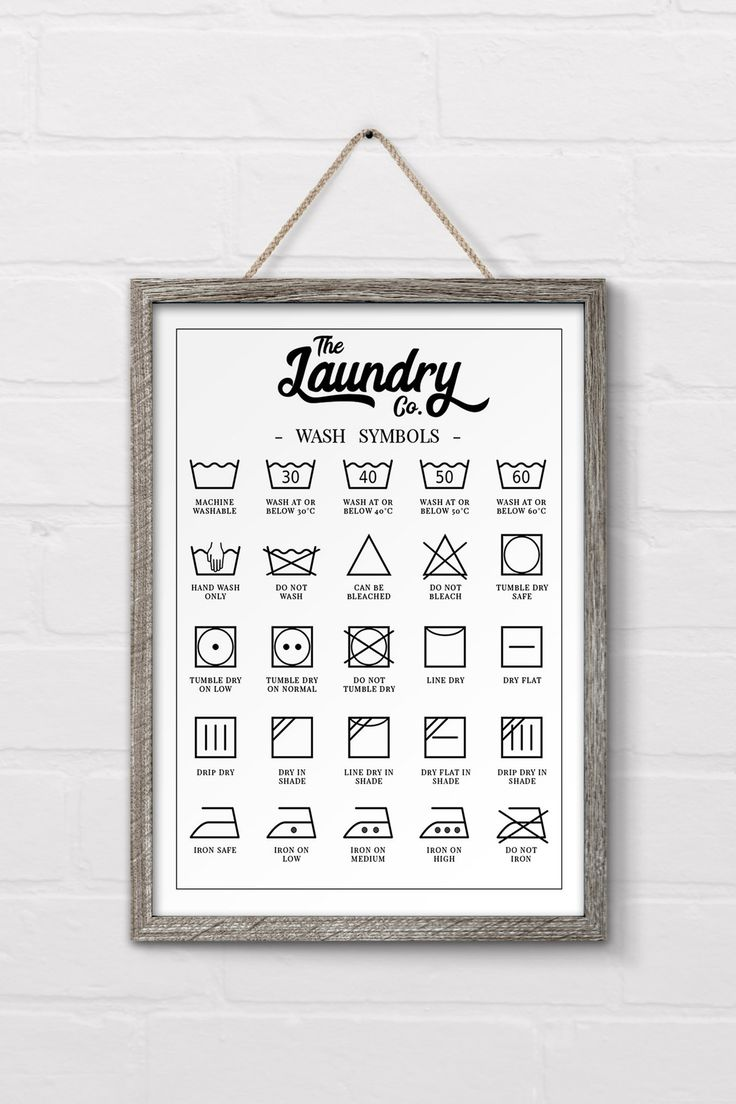 Check out this free printable laundry symbols wall art designed to fit in perfec...