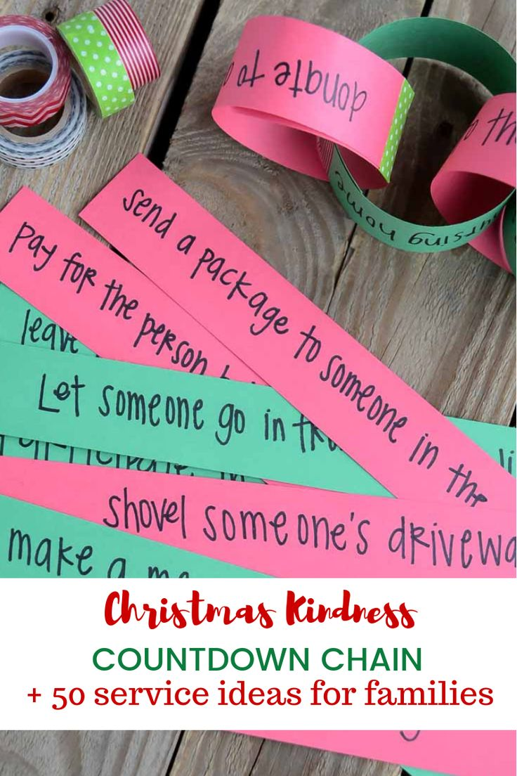 Christmas Kindness Countdown Chain | Service Ideas for Families #christmastradit...