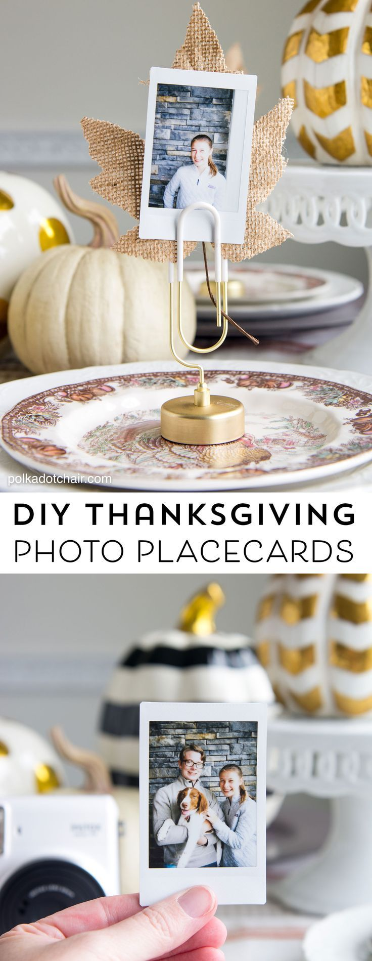 Cute idea for Thanksgiving Place Cards- DIY Photo place cards using Instax photo...