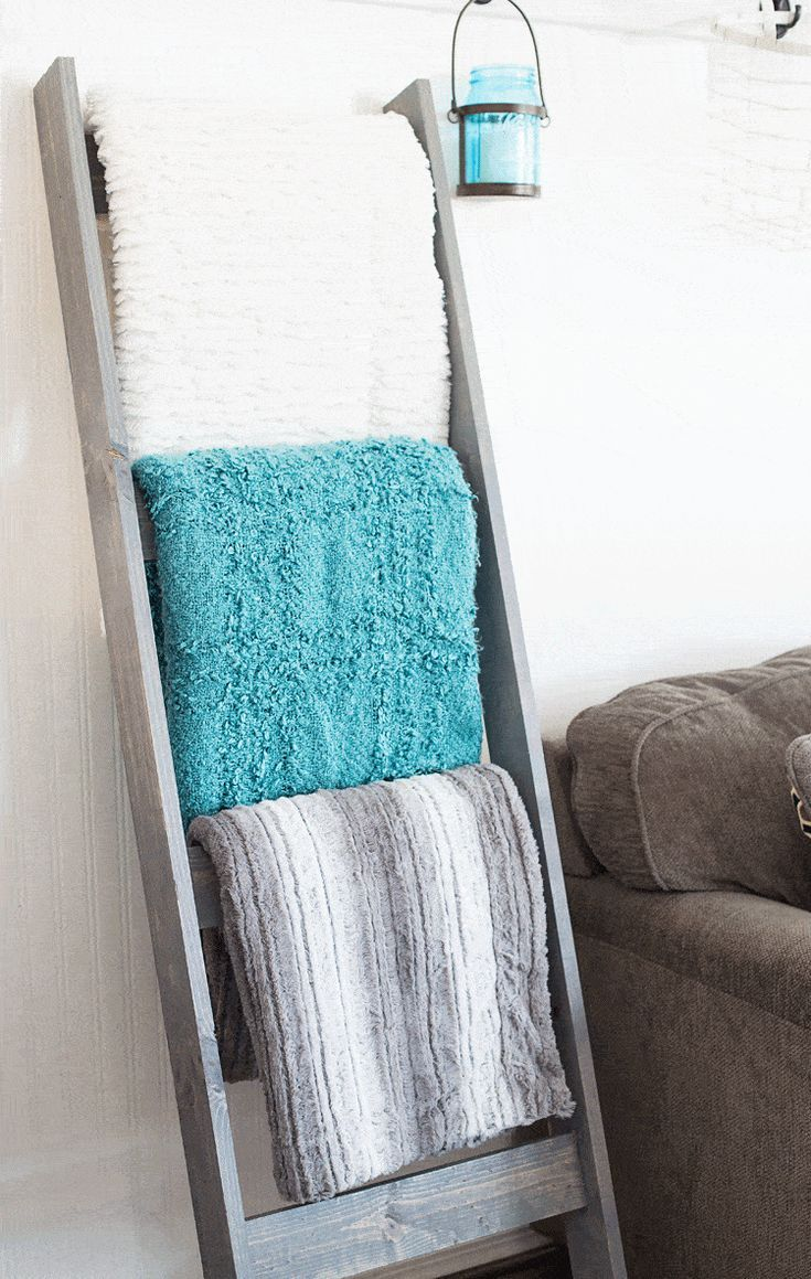 DIY Blanket Ladder stained gray