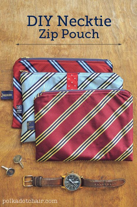 DIY Necktie Zip Pouch Sewing Tutorial & Pattern -great gift idea! Something to m...