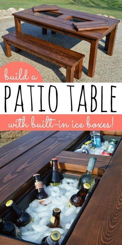 DIY Patio Table with Built-In Drink Coolers | Kruse's Workshop on Remodelaholic....