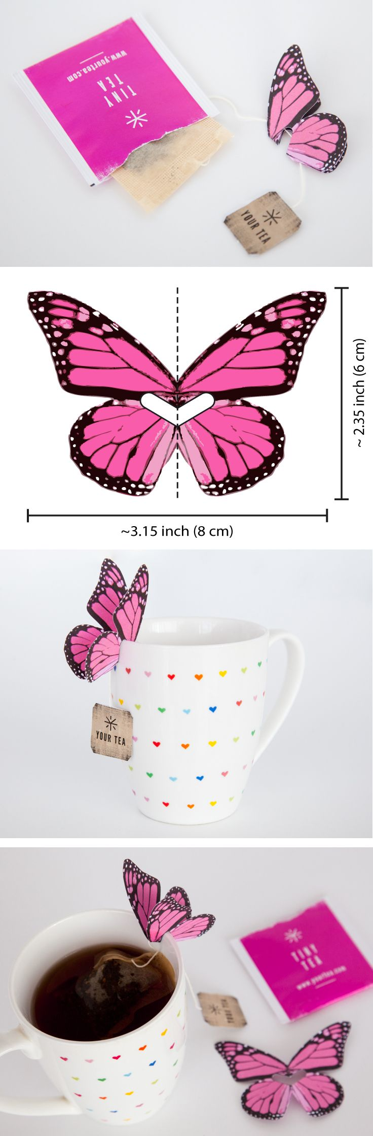 DIY paper butterfly tea bag holder – perfect décor for a garden party or brid...