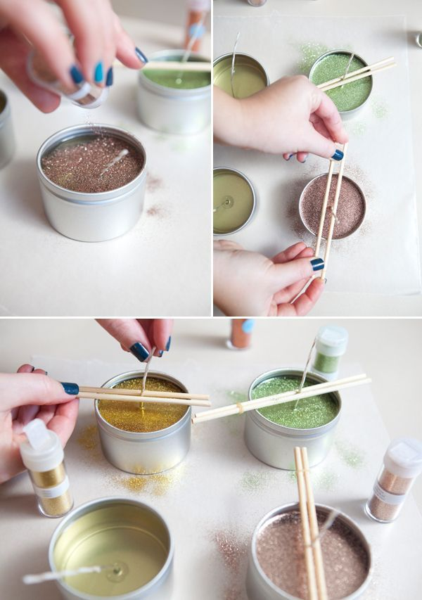 #DIYwedding - how to make hand poured glitter tin candles, perfect for favors or...