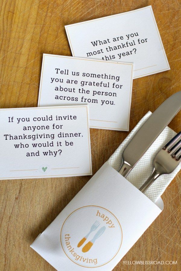 Download Free Printable Thanksgiving Conversation Starters