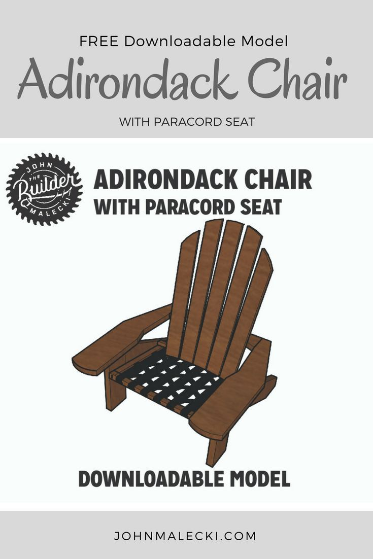 Download a FREE Sketchup model of this adirondack chair with a WOVEN PARACORD Se...