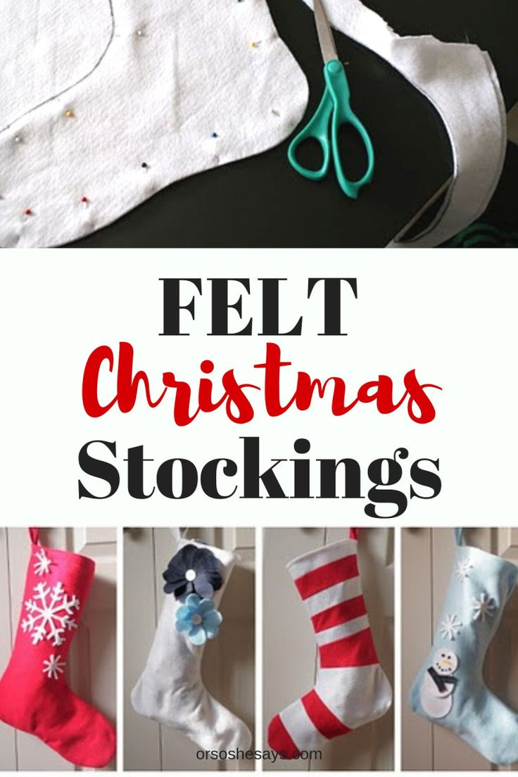 Easy Felt Stockings - www.orsoshesays.com #felt #stockings #feltstockings #chris...