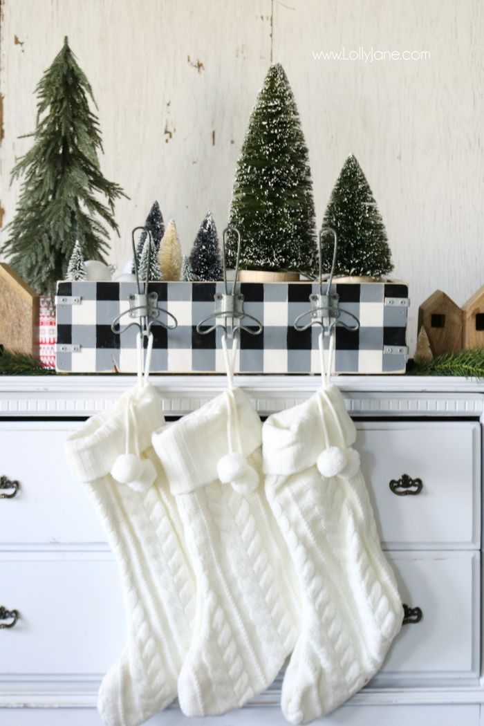 Easy diy stocking holder tutorial. Great way to store Christmas decor and hang y...