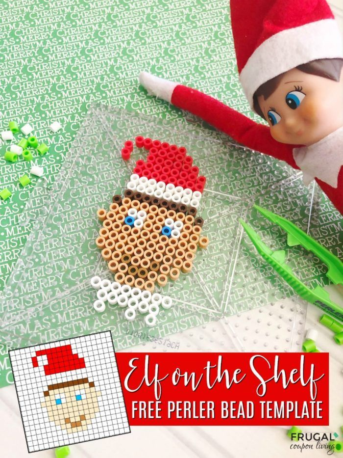 Elf on the Shelf Portrait with Perler Beads printable template for easy crafting...