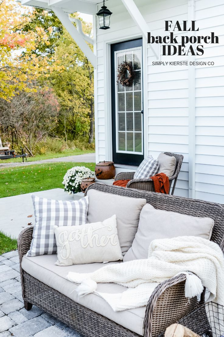 Fall Back Porch Ideas | Farmhouse Style #falldecor #fallpatio #fallporch #outdoo...