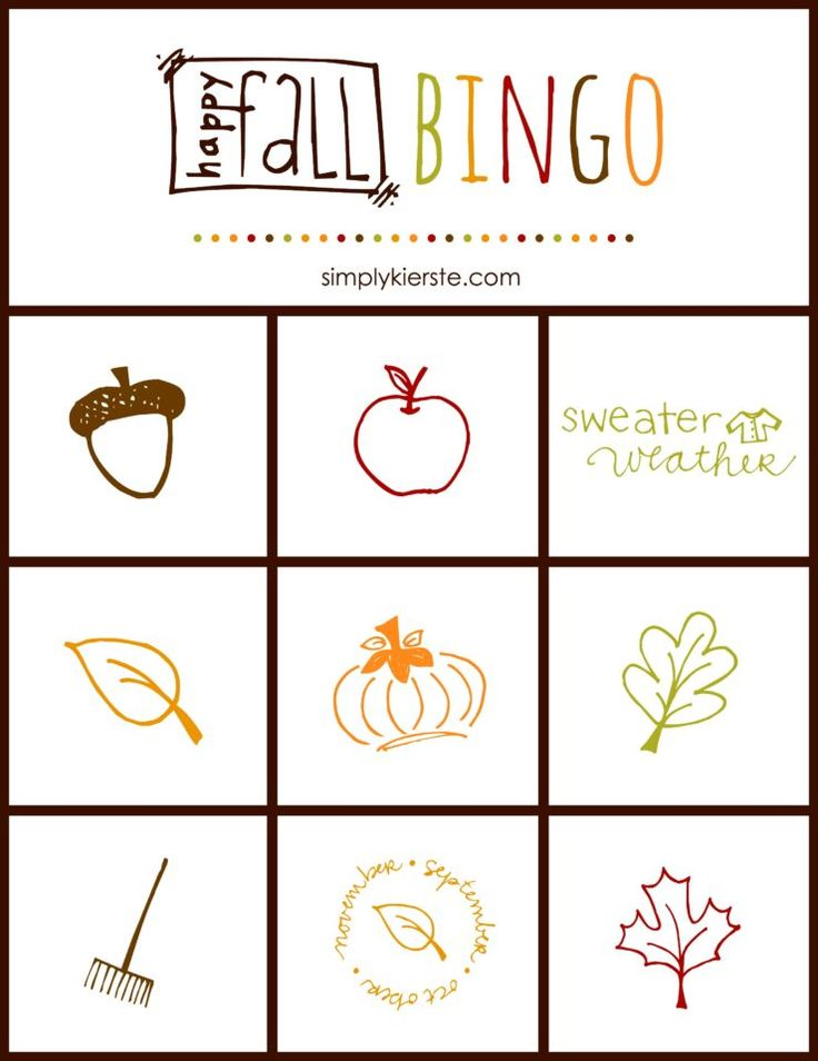 Fall Bingo is a fun and easy game perfect for the whole fall season! Great for h...