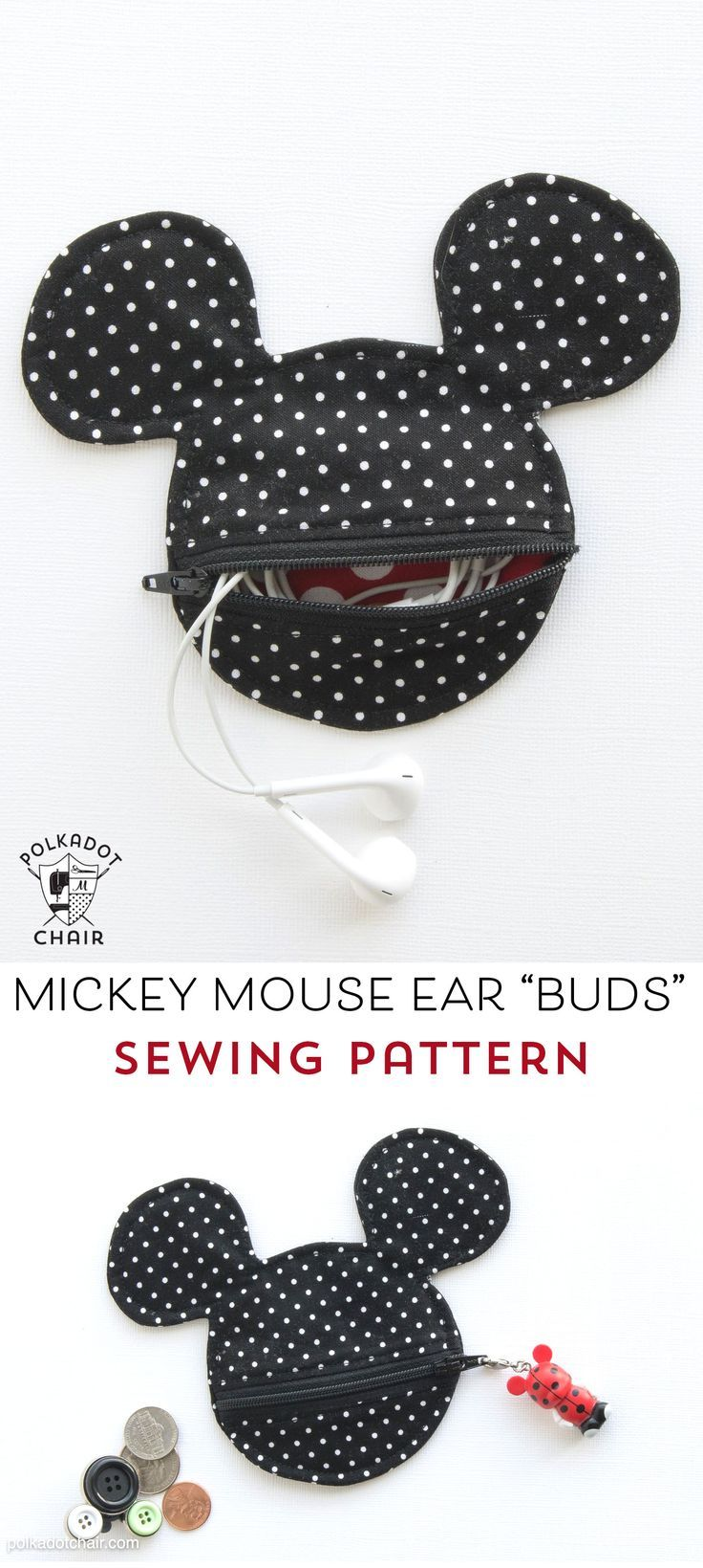 Free Sewing pattern for a Mickey Mouse inspired earbuds case / coin purse. This ...