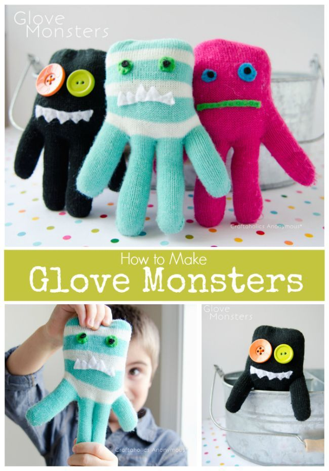 Glove Monsters :: Turn gloves into Monster stuffy toys! DIY handmade gift idea f...