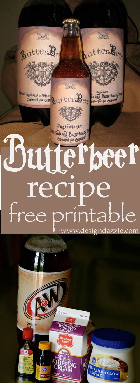 Harry Potter Butterbeer Recipe and Free Printable! Perfect for your next bewitch...
