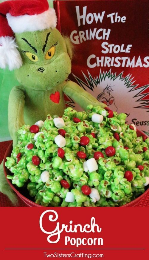 Have a family movie night, don't forget the Grinch Popcorn Recipe plus 25 Chri...