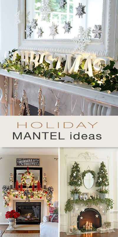 Holiday Mantel Ideas • Lots of fabulous projects and ideas! #DIY #DIYholidayma...
