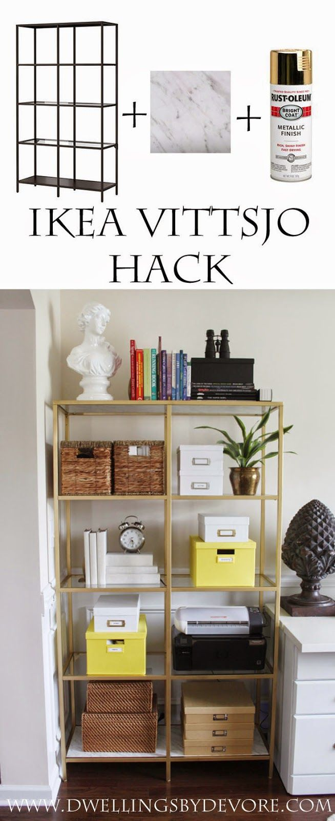 IKEA VITTSJO hack using gold spray paint and contact paper that looks like real ...