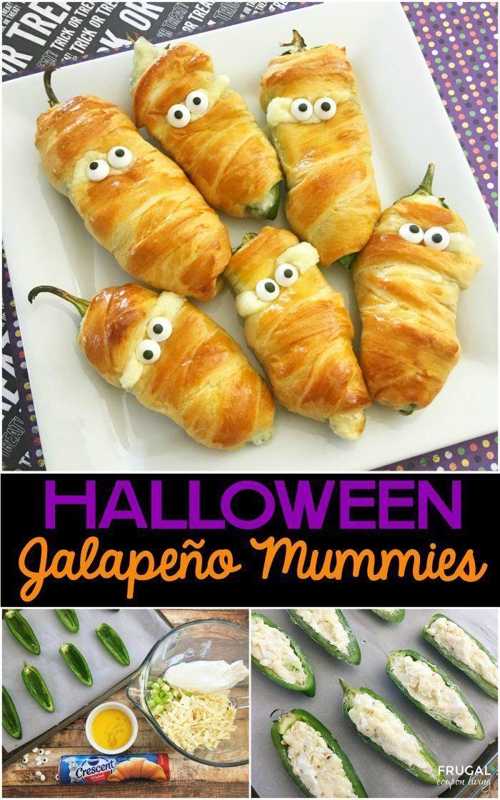 Jalapeño Popper Mummies - a Halloween Food Craft on Frugal Coupon Living #fruga...