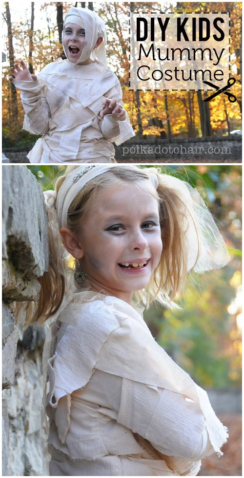 Learn how to make a Kids Mummy Costume for Halloween - A free tutorial on polkad...