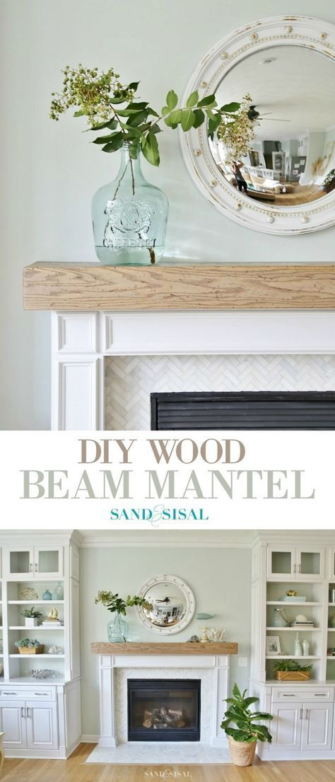 Learn how to make this DIY Wood Beam Mantel and fireplace surround with marble h...