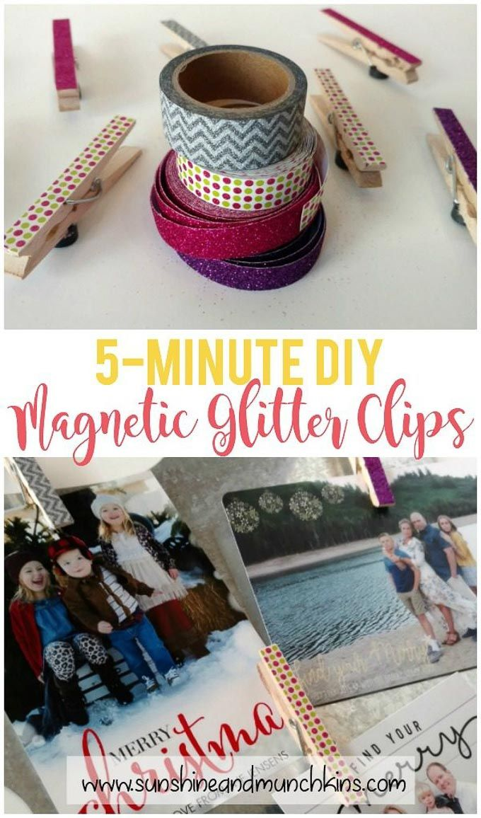 Magnetic Glitter Clips are perfect to hang photos on your fridge! Quick and easy...
