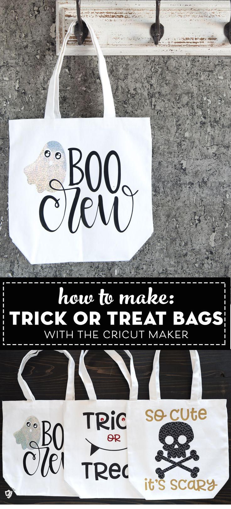 Make cute trick or treat bags with the cricut maker. Includes free Halloween SVG...